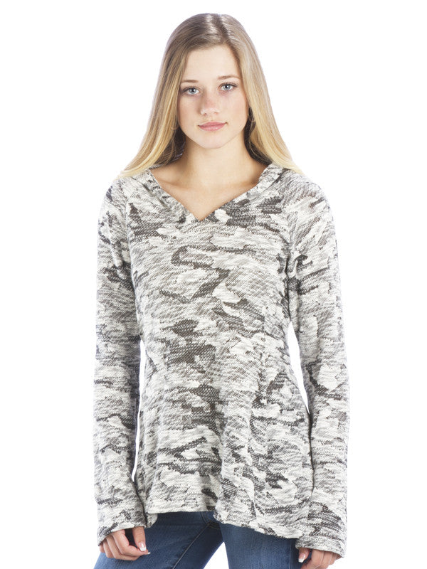 Double Ruched Back Long Sleeve Hoodie - Black and White Pattern