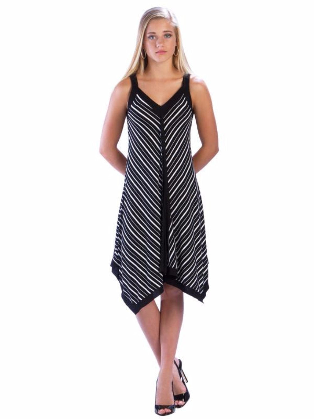Irregular Hem Dress Black and White Striped