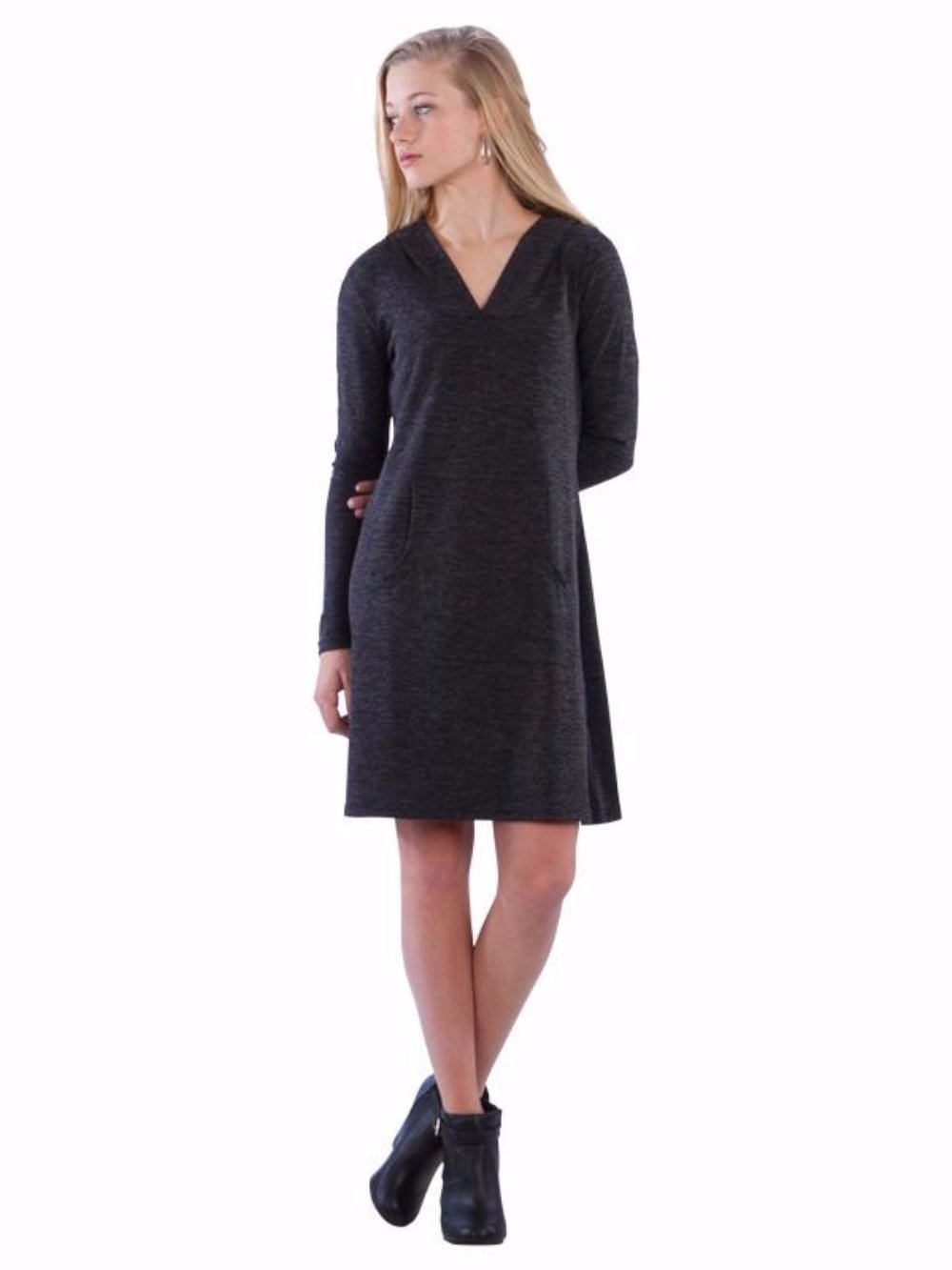 Hoodie Sweater Dress with Kangaroo Pocket and V-Neck - Charcoal Sweater Dress