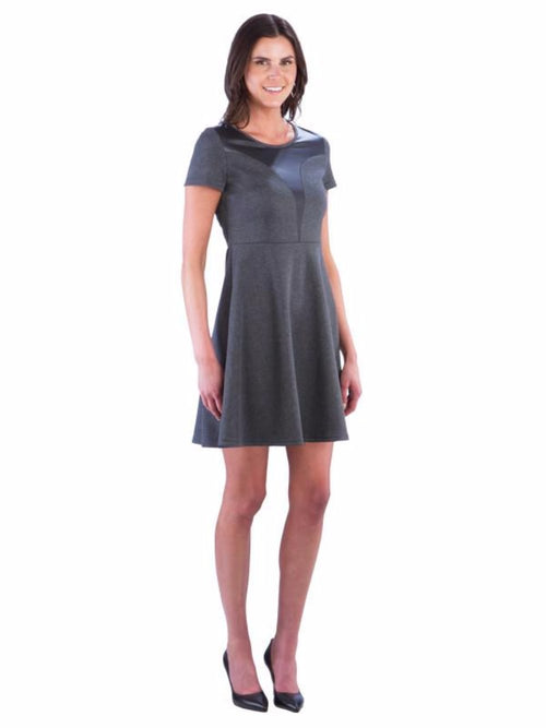 Neesha Womens A Line Swing Dress with Faux Leather Insert - Grey Dress