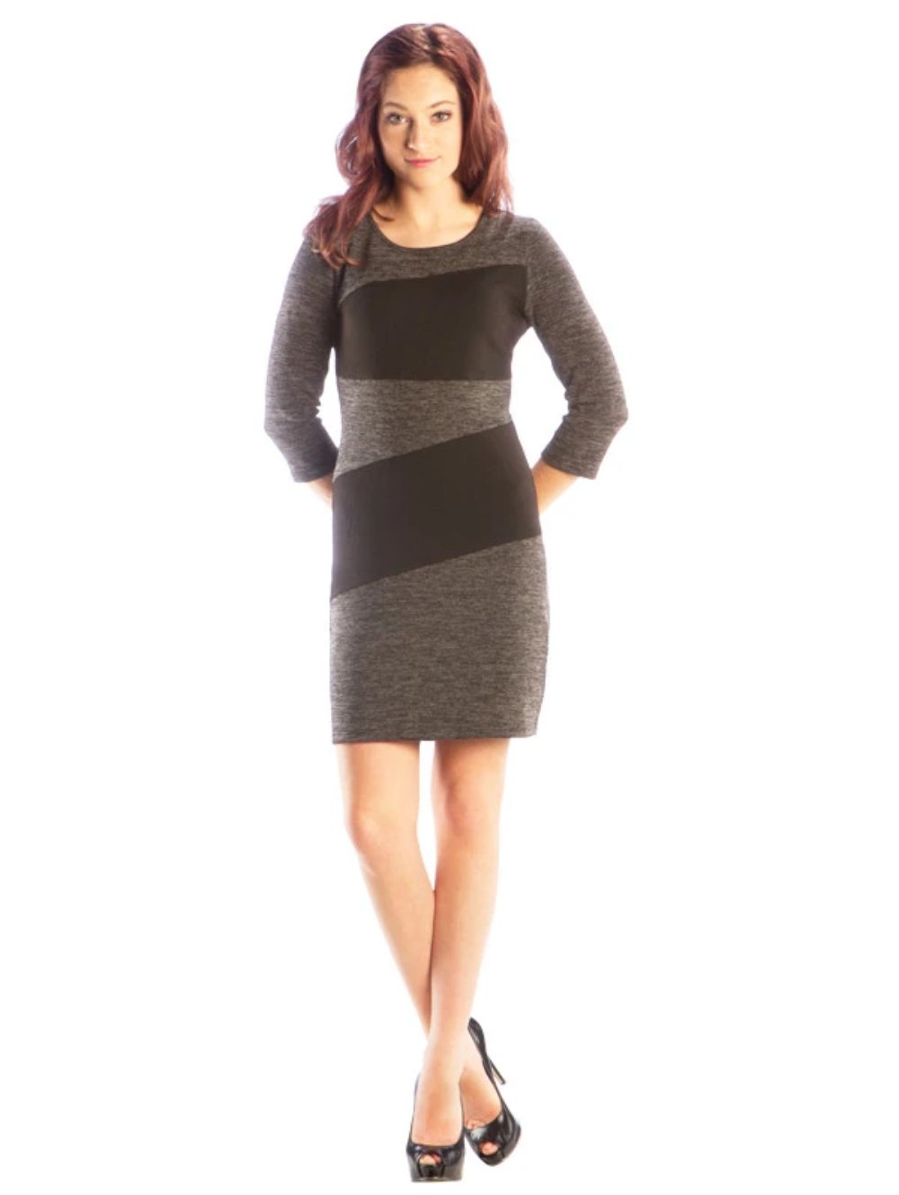Color Block Sweater Sheath Dress with 3/4 Length Sleeves, Charcoal