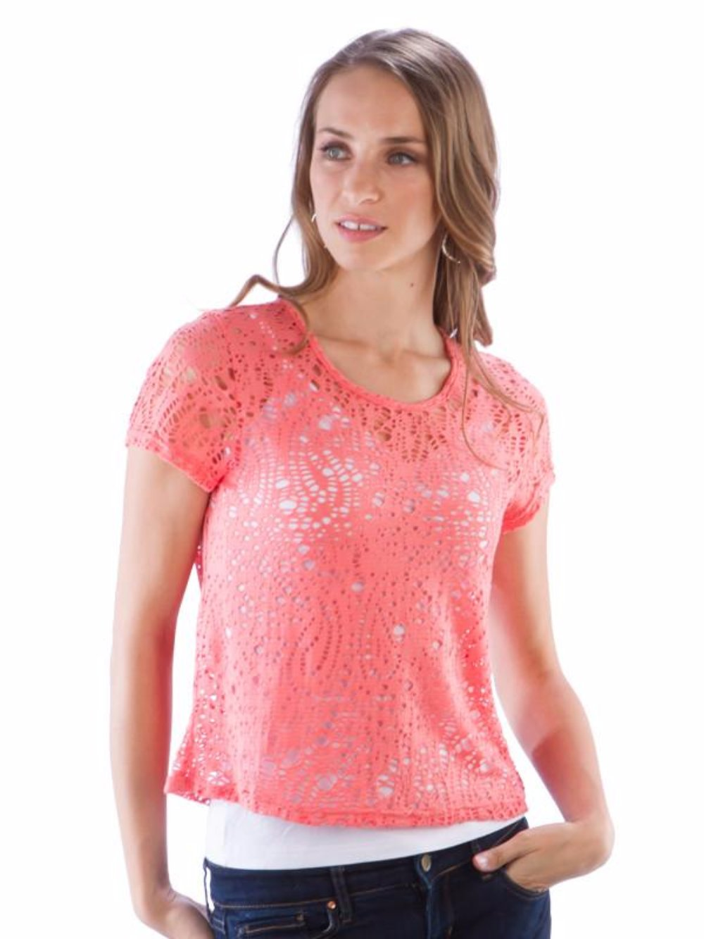 Neesha Womens Eyelet Crop Top in Coral