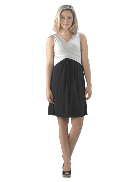 Cross Over Fit and Flare Color Block Swing Dress, Grey/Black Dress, LBD