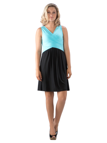 Cross Over Fit and Flare Color Block Swing Dress, Blue/Black Dress, Blue Dress, Turquoise Dress