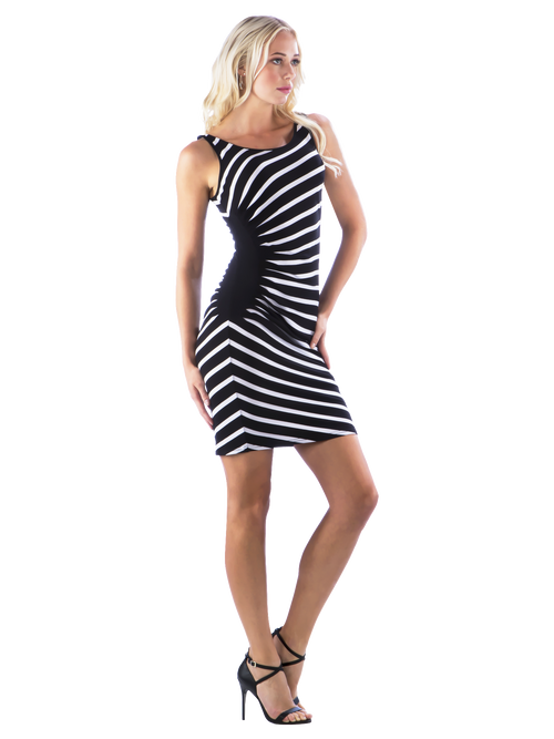Side Pleated Striped Dress