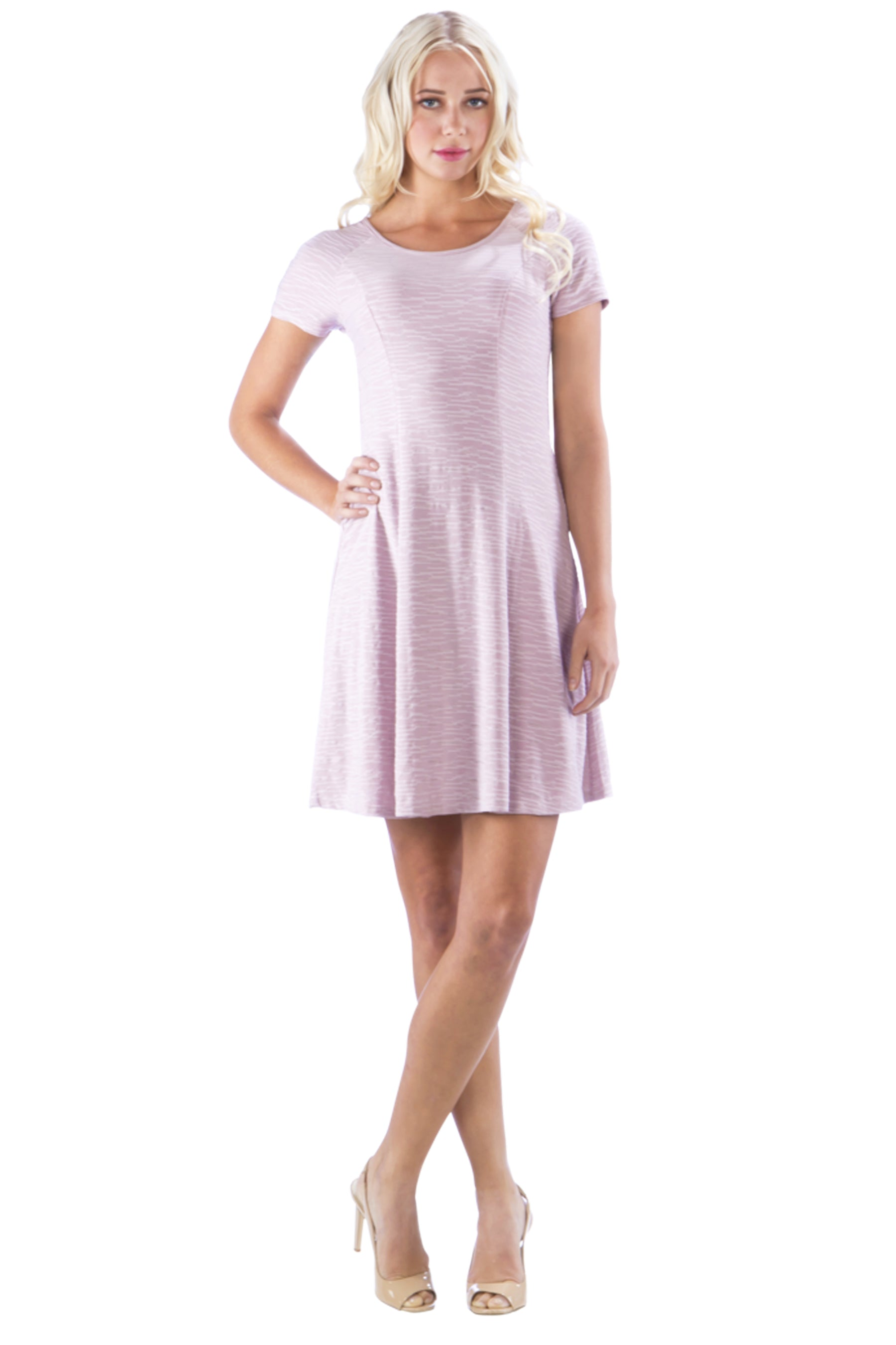 Basic Scoop Neck Textured Dress with Princess Seams