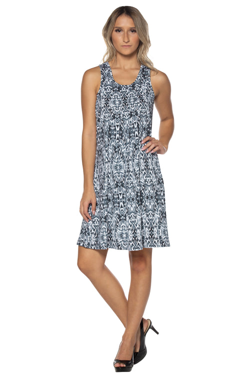Printed Swing Dress with Inverted Pleats