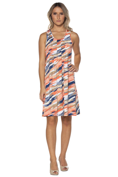Orange/Navy Shift Dress