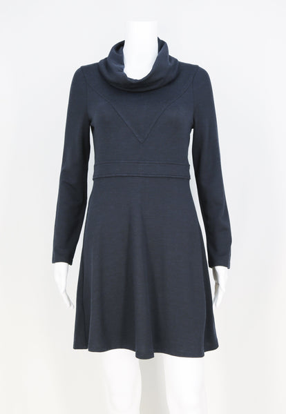 V Bodice Cowl Neck Dress with Waistband