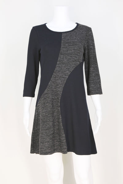 Diagonal Swirl Color Block Dress