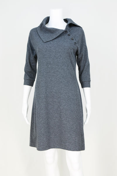 Split Cowl Button Dress