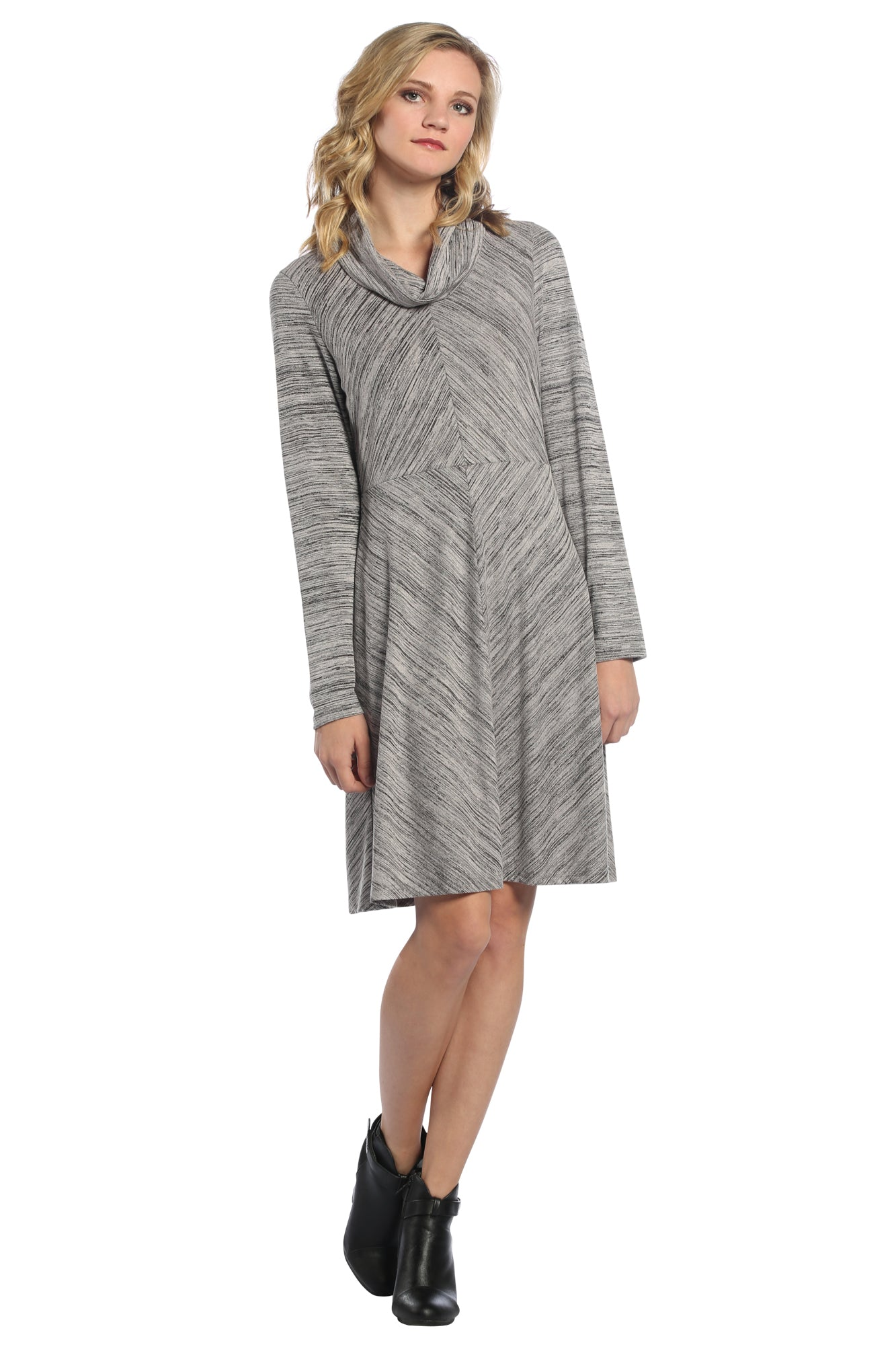 Diamond Space Dye Cowl Neck Dress in Grey