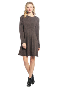 Long Sleeve Sweater Dress with Sunburst Bodice