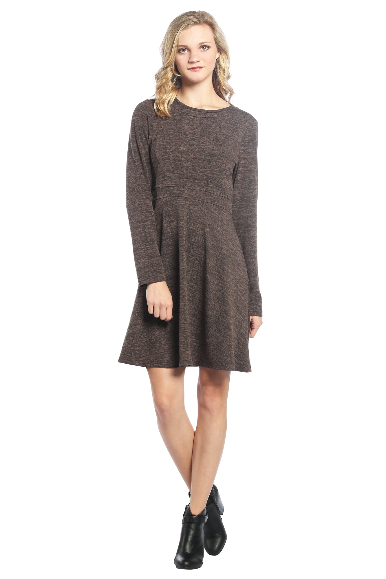 Long Sleeve Sweater Dress with Sunburst Bodice in Brown