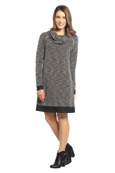Waffle Weave Cowl Neck Sweater Dress in Black