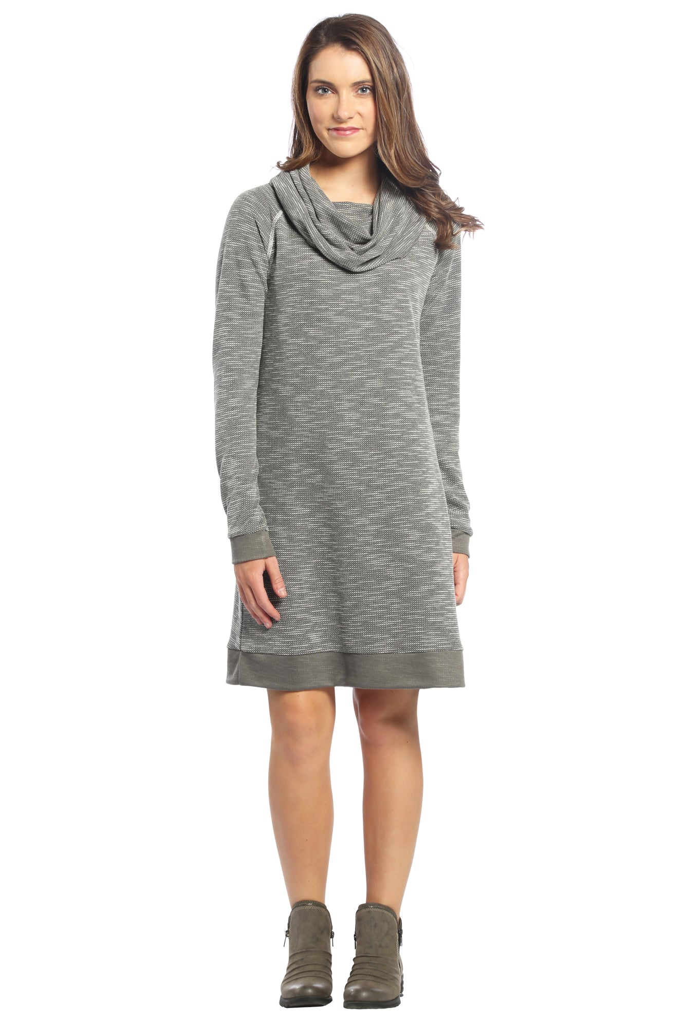 Waffle Weave Cowl Neck Sweater Dress in Grey
