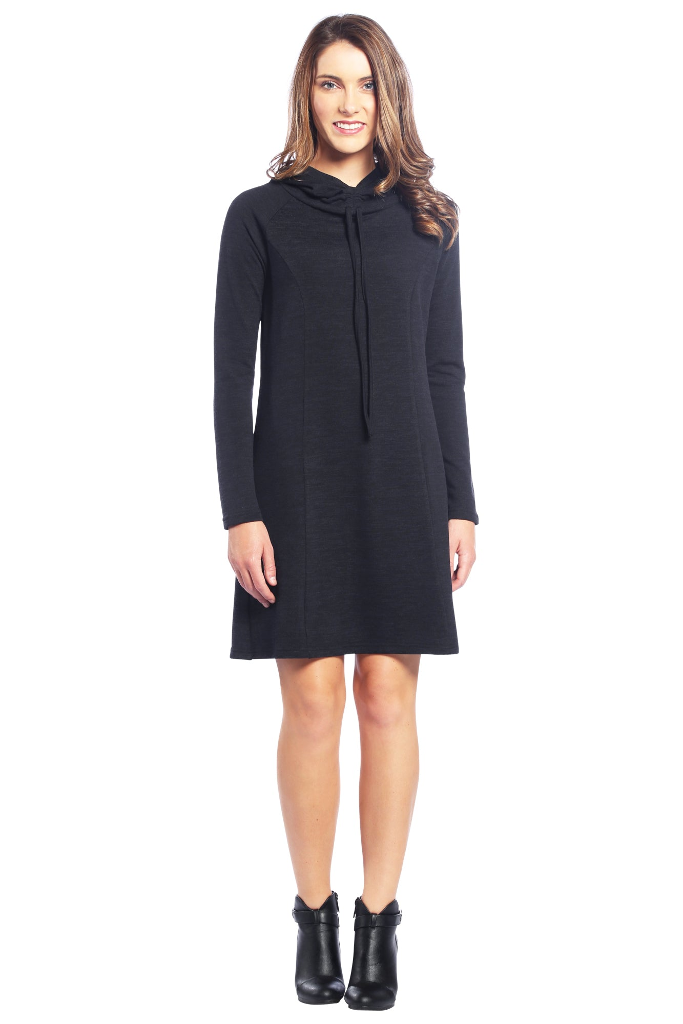 Drawstring Cowl Neck Sweater Dress with Hoodie in Black