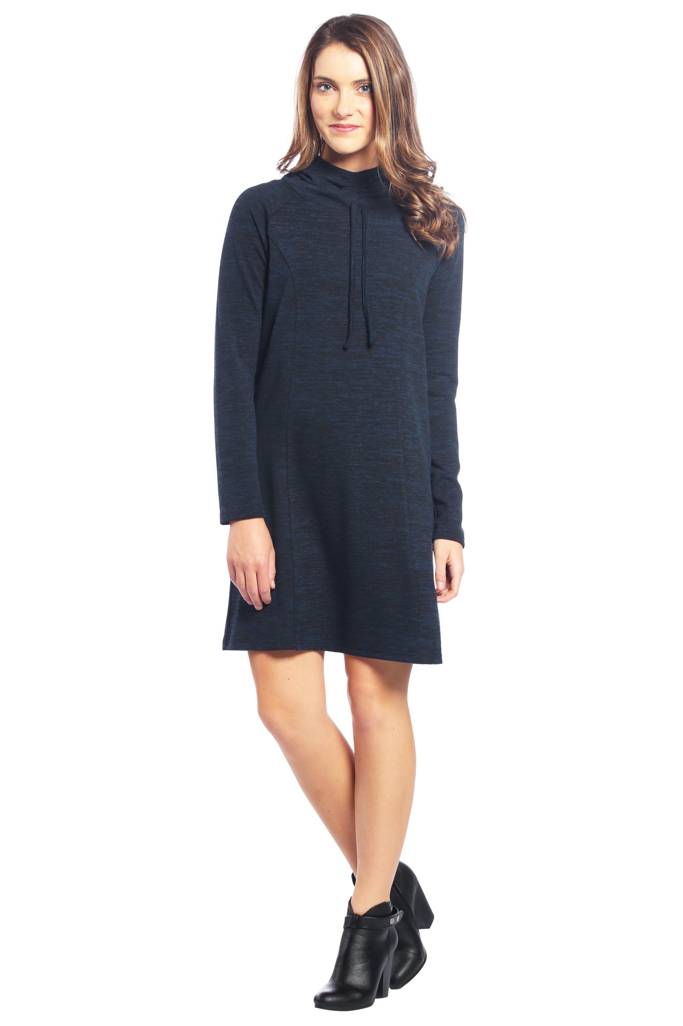 Drawstring Cowl Neck Sweater Dress with Hoodie in Blue