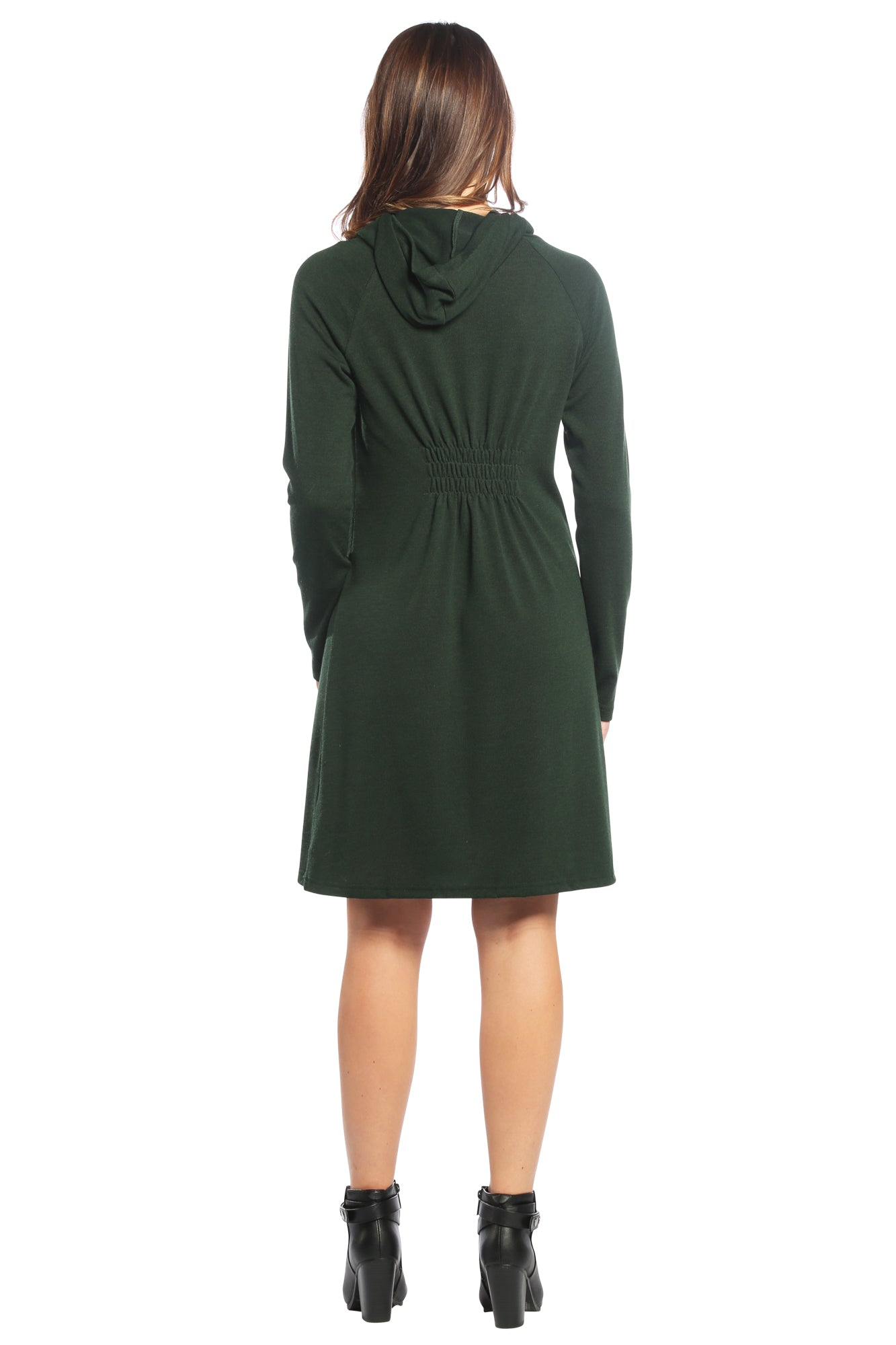 Drawstring Cowl Neck Sweater Dress with Hoodie in Green