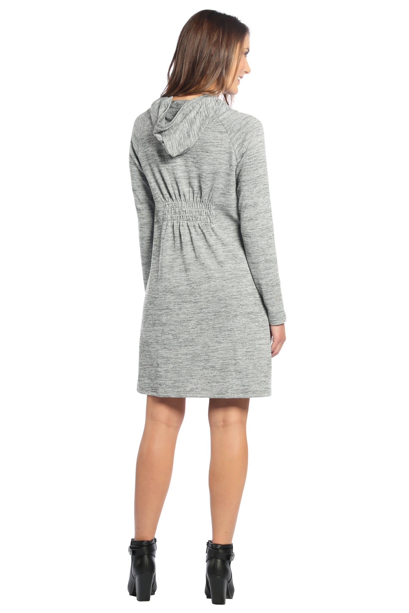 Drawstring Cowl Neck Sweater Dress with Hoodie in Heather Grey