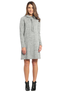 Drawstring Cowl Neck Sweater Dress with Hoodie