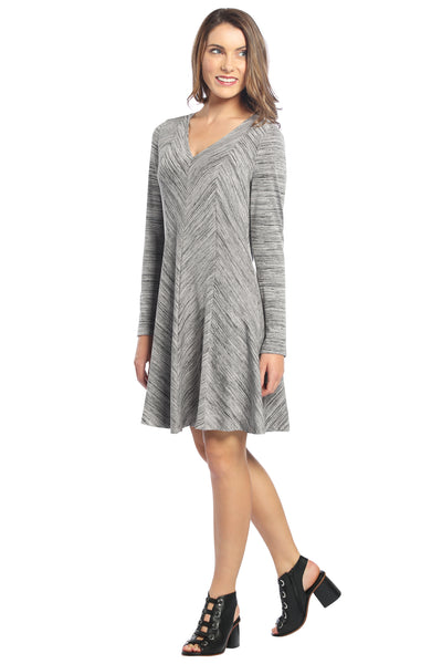 V Neck A-Line Panel Dress with Space Dye Print in Grey