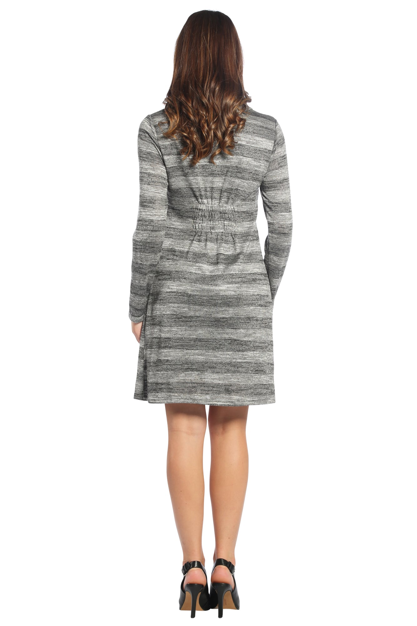 Striped Cowl Neck Button Dress in Charcoal