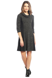 Color Block Cowl Neck Sweater Dress