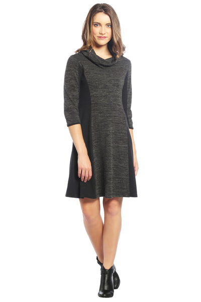 Color Block Cowl Neck Sweater Dress in Charcoal/Black