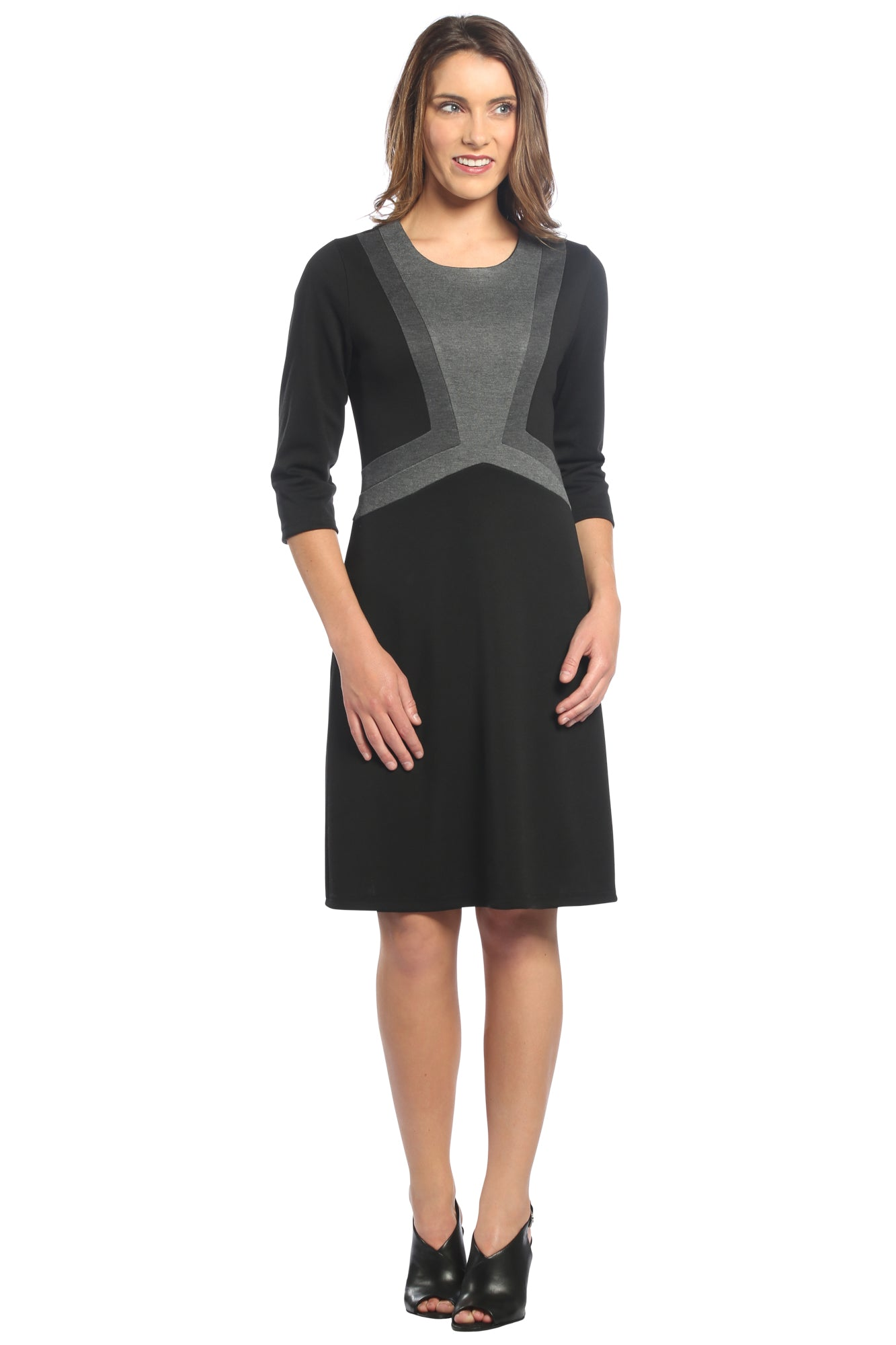 Color Block A-Line Dress in Black/Charcoal