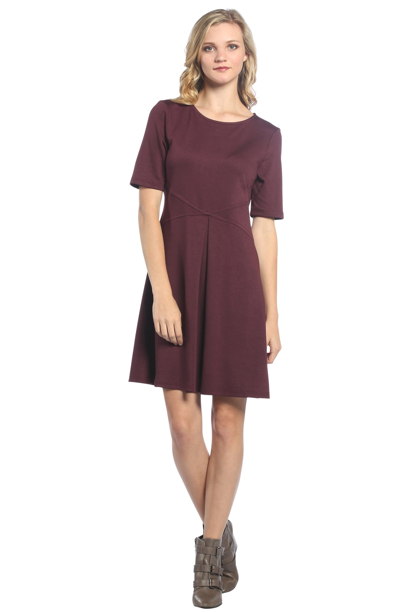 Inverted Pleat Fit and Flare Dress in Plum