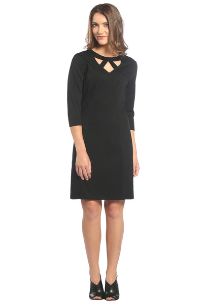 V-Neck Cut Out Dress in Black