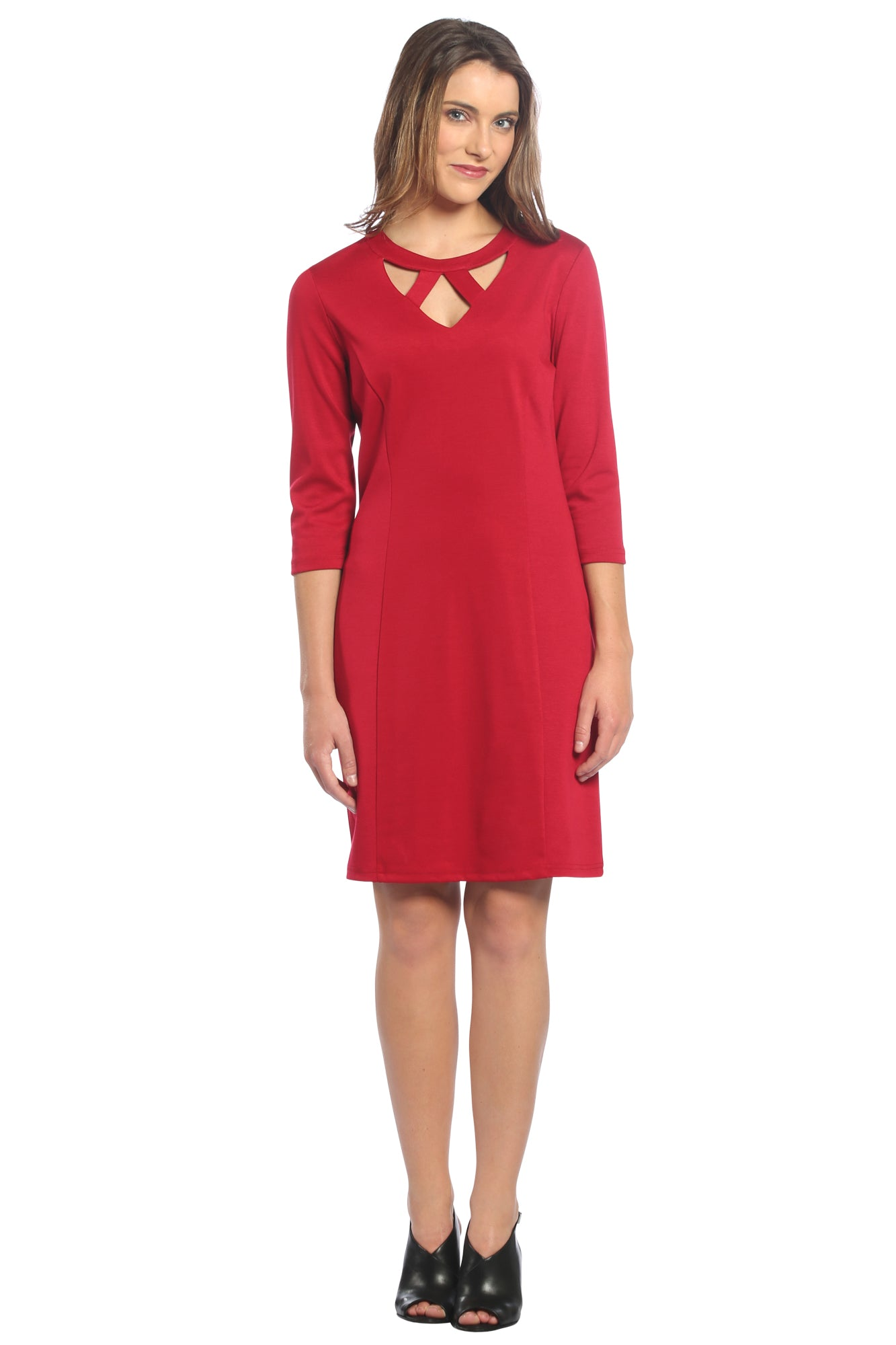 V-Neck Cut Out Dress in Red