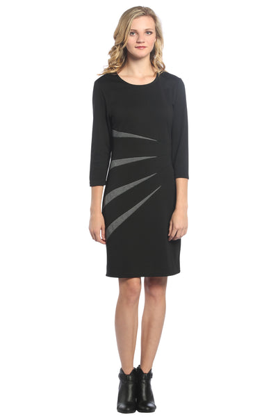 Color Block Sunburst Dress in Black/Charcoal