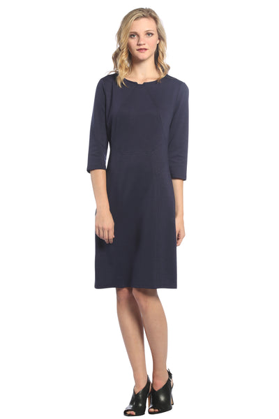 Notched Neckline Panel Dress in Navy