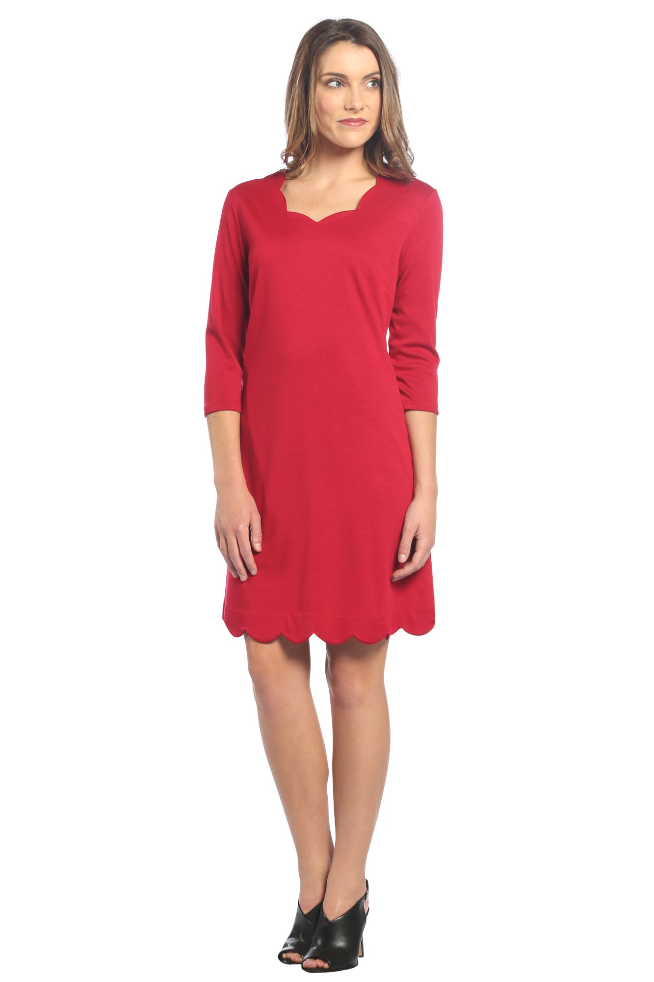 Scalloped Trim Shift Dress in Red