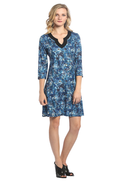 Jellabah V Neck Shift Dress in Blue