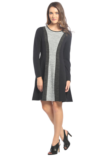 Color Block Sweater Dress in Black/Charcoal/Heater