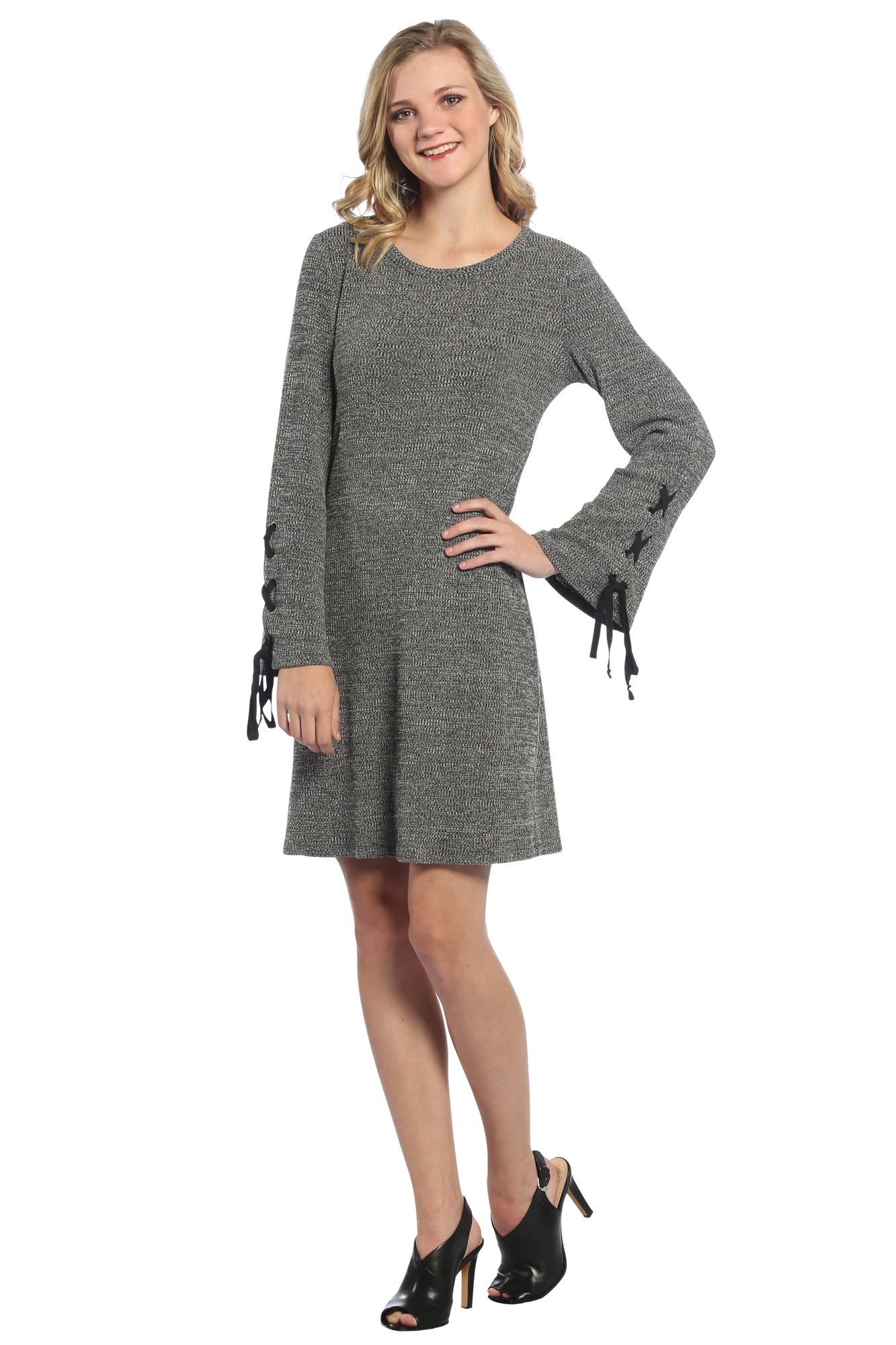 Laced Bell Sleeve Dress in Charcoal