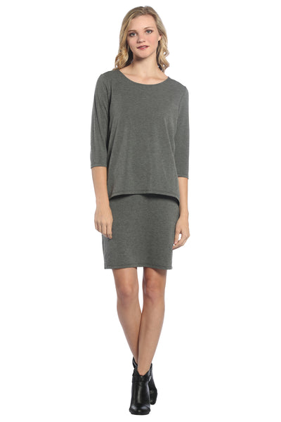 Basic Double Layer Dress in Charcoal