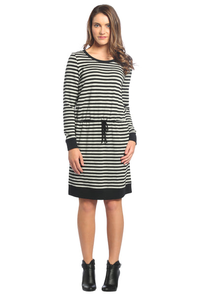 Striped Drawstring Dress in Grey/Black