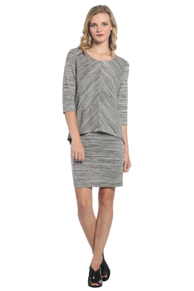 Flattering Double Layer Dress, Grey Space Dye