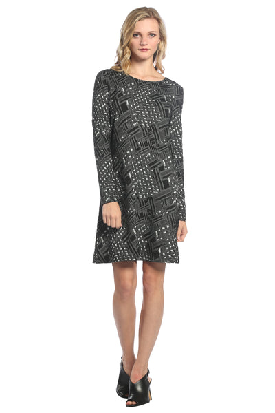 A-Line Flare Dress with Textured Pattern in Grey