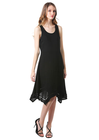 Black Handkerchief Hem Swing Dress