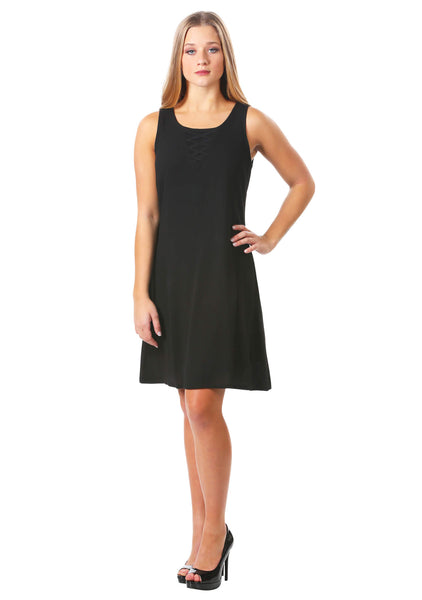 Criss Cross Neckline A-line Dress
