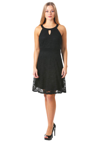Floral Lace Keyhole Fit and Flare Dress in Black