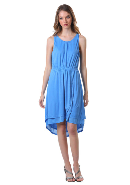 Double Layer High Low Cross Over Dress | Blue Summer Dress
