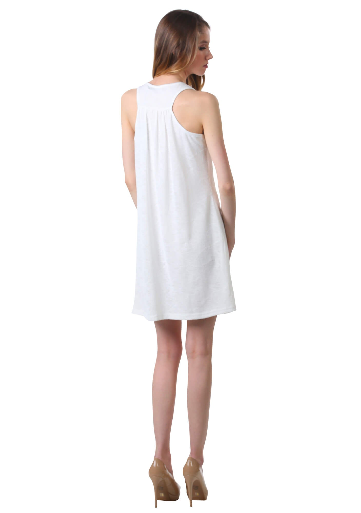Basic Pleated Gauze Shift Dress