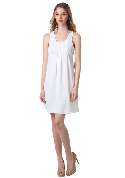 Basic Pleated Gauze Shift Dress in White