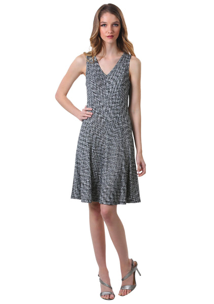 Crinkle A Line Panel Swing Dress